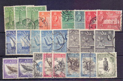 Aden 1953-62 Definitives To 10/- Inc. Shades/perfs ( 25 ) Used Cat £31