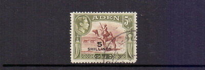 ADEN 1951 GVI 5/- ON 5r RED-BROWN & OLIVE-GREEN SG45 FINE USED CAT £17