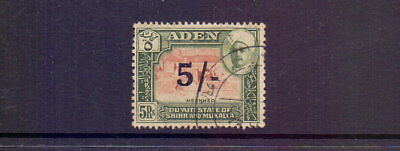 ADEN - HADHRAMAUT 1951 5/- ON 5r BROWN & GREEN SG27 FINE USED CAT £45