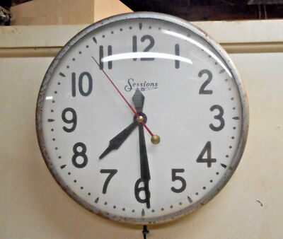 "L1894- 1950s Vintage Sessions Electric Industrial School 12"" Wall Clock WORKS"