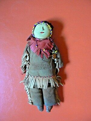 Vintage Beaded Leather Native American Indian Doll