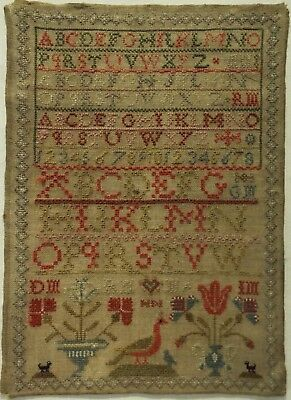 EARLY/MID 19TH CENTURY ALPHABET & MOTIF SAMPLER INITIALLED HM - c.1840