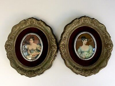 Pair Of Antique Vintage Cameo Creations Lady Blessington, Countess Grosvenor