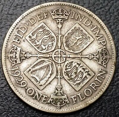 1929 Great Britain Two Shillings Florin .500 Silver Coin ***Great Condition***
