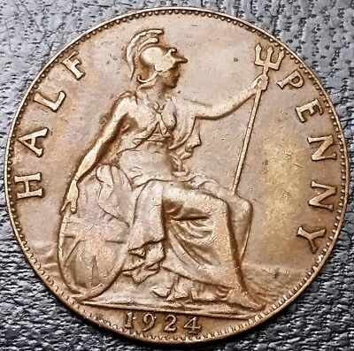 1924 Great Britain Half Penny Coin ***Great Condition*** Free Combined S/H