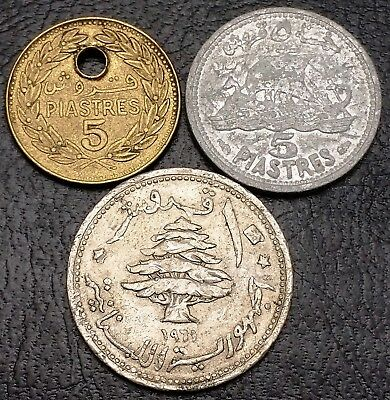 Collection of 3x Lebanon Coins - Date: 1952 to 1971 - 5 & 10 Piastres