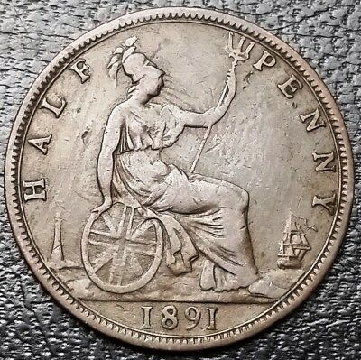 1891 Great Britain 1/2 Half Penny Coin KM# 754 - Great Condition