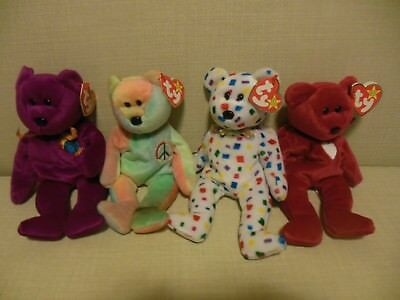 Original Ty Beanie Baby Lot of 4 Bears w Tags: Peace, Millenium, Ty2K, Valentina