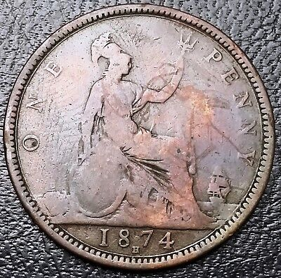 1874-H Great Britain One Penny Coin KM# 749.2 - Free Combined Shipping