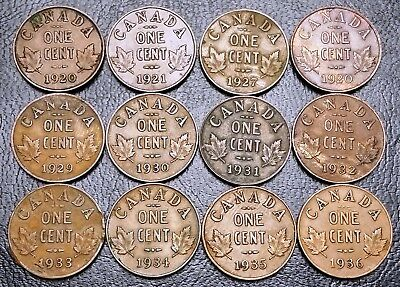 Lot of 12x Canada Small Cent Pennies ***Dates: 1920 to 1936*** King George V
