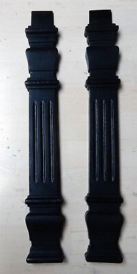 Pair of Antique English Black Painted Wooden Pilasters Architectural Salvage