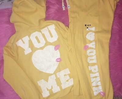 Victoria's Secret PINK Vintage Yellow Lips Kiss Hoodie and Sweatpants Set S