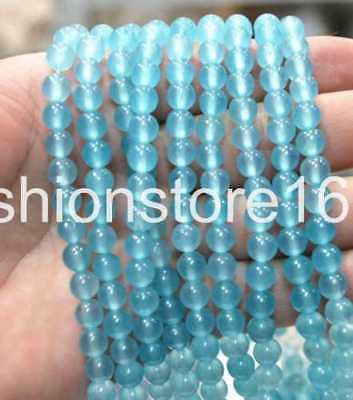 4mm natural Brazilian Aquamarine Gemstone Round Loose Bead 15""