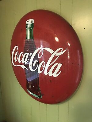 "Rare Vintage 1950's 36"" Round Metal Coca-Cola Coke Button Sign"