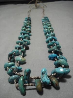 Chunky Turquoise!! 127 Grams Vintage Navajo Native American Necklace Old