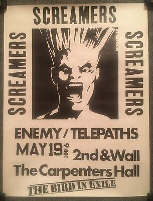 "SCREAMERS 1978 large 17""x23"" poster/flyer PUNK KBD SEATTLE ENEMY TELEPATHS VG++"