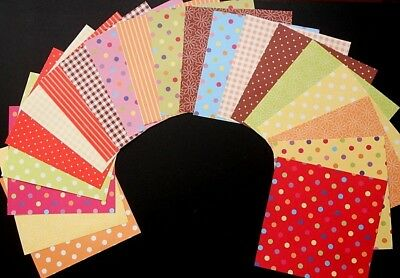 "Colourful Patterned Scrapbooking/Cardmaking Papers x 20 *15cm x 15cm ( 6"" x 6"")"
