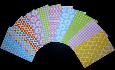 "PASTEL PATTERNED Scrapbooking/Cardmaking Papers x 10 *15cm x 10cm (6"" x 4"")"