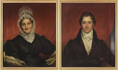 RW Brown Large Antique Fine Oil Painting Portrait Pair Lady and Gent Mother/Son