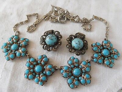 Lovely Vintage 1950s Turquoise Stone Encrusted Necklace & Clip on Earrings