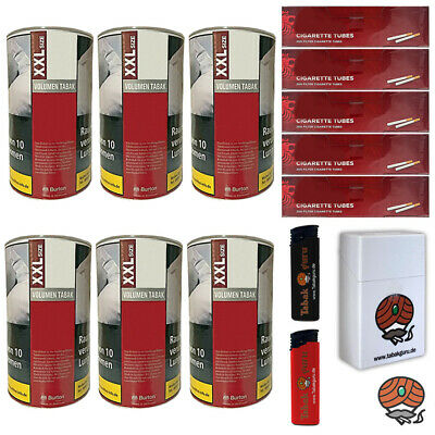 6 x Burton Red Volumentabak XXL Dose 95g, Break Hülsen, Feuerzeuge, Box