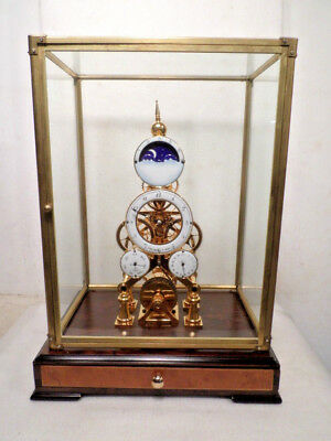Wonderful Paris Model Chain Fusee 24K Gold Plated Skeleton Clock With Dome