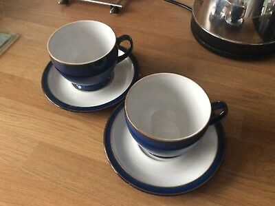 Imperial Blue Denby Large Breakfast Cups And Saucers x2