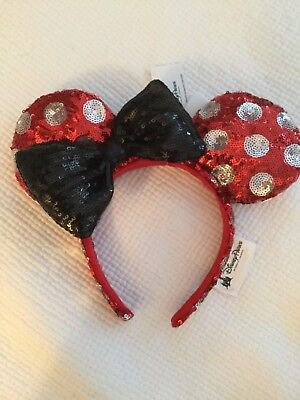 Disney Parks MINNIE MOUSE EARS red Sequin Polka Dot Bow HEADBAND 1 SIZE NWOT