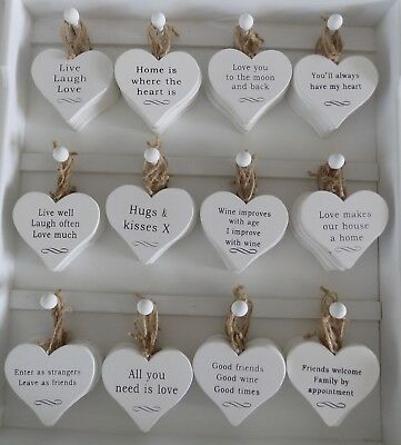 Shabby Chic White Heart Plaques gift various quotes Love