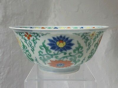 Antique Chinese Chenghua Mark but later Doucai Chrysanthenum Bowl prob late Qing