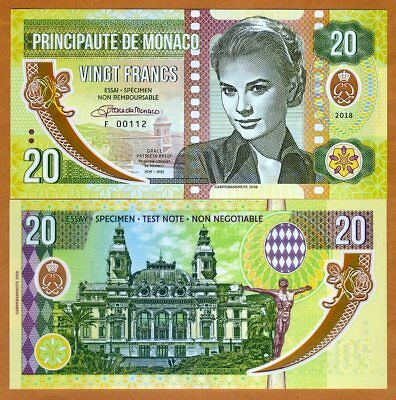 Monaco, 20 Francs, 2018 Private Issue Clear Window Polymer > Grace Kelly