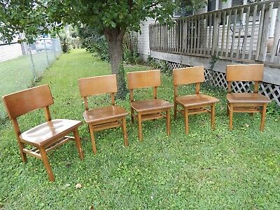 VTG Set of 5 Matching Solid MAPLE MID CENTURY Library DESK CHAIRS Myrtle Desk Co