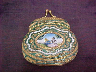 Early Italian Enamel Compact, Purse Shaped, Painted Sceen