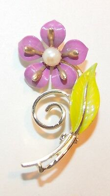 Vintage Lilac Purple Enamel Violet Flower with Faux Pearl Gold Tone Brooch Pin