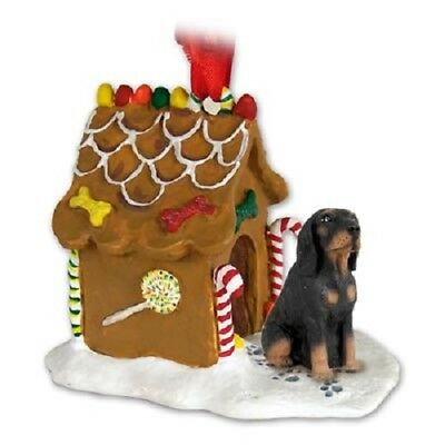 coonhound gingerbread house christmas ornament hand painted figurine black tan - Goldendoodle Christmas Ornament