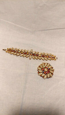Vintage WEISS Satin Taupe & Coral AB Rhinestone Brooch & Bracelet Set Signed