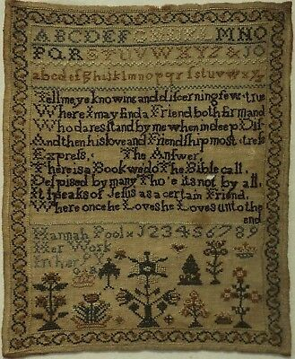 SMALL EARLY 19TH CENTURY VERSE & MOTIF SAMPLER BY HANNAH POOL AGED 9 - c.1825