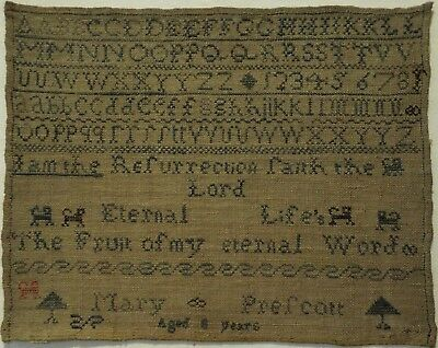 EARLY 19TH CENTURY QUOTATION & MOTIF SAMPLER BY MARY PRESCOTT AGED 8 - c.1820