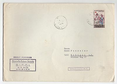 1964 IVORY COAST Cover To ENINGEN GERMANY SG242 Red Cross