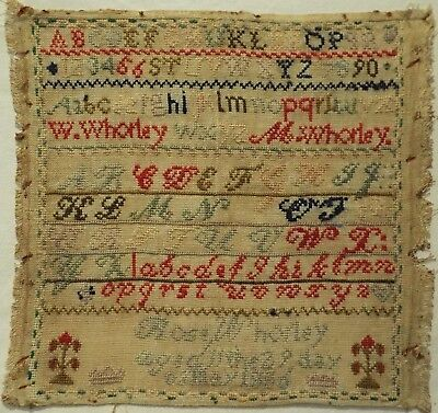 Late 19Th Century Alphabet & Motif Sampler By Rose Whorley Aged 11 - 1886