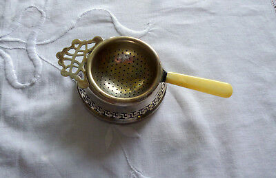 Unusual Silver Plated Bakelite Handle Tea Strainer and Spill Pot