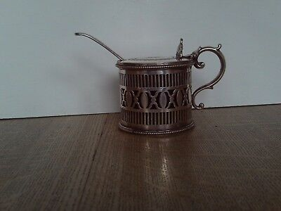 Antique Victorian Silver plated drum shaped mustard pot with spoon and liner