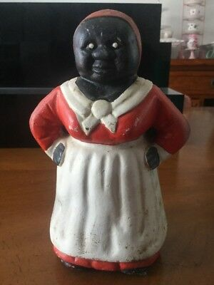 Original Antique Cast Iron Aunt Jemima Black Americana Coin Bank