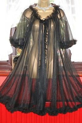 Vtg 50s/60s RN 12962 Black Sheer Glamorous 100% Nylon Frilly Dressing Gown Robe