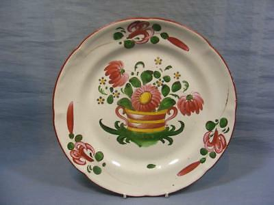 LATE 18c FRENCH LES ISLETTES FAIENCE PLATE NOSEGAY FLORAL BASKET c1800