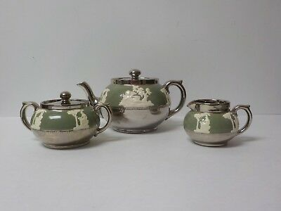 Gibsons Staffordshire England Silver Luster 3-Piece Tea Set, c. 1950's