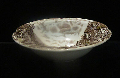 """Johnson Bros China """"Olde English Countryside"""" Brown Multicolor-Rimmed Fruit Bowl"""