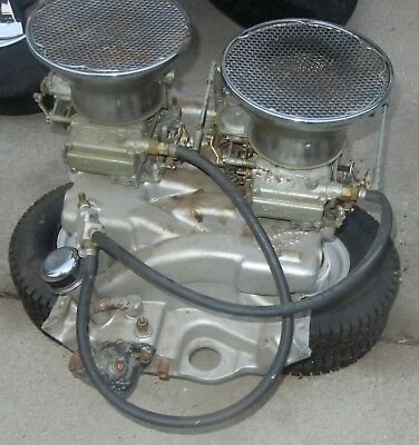 FORD 427 FE Intake Manifold X-F66 Edelbrock Crossram COMPLETE with Carbs  Linkage