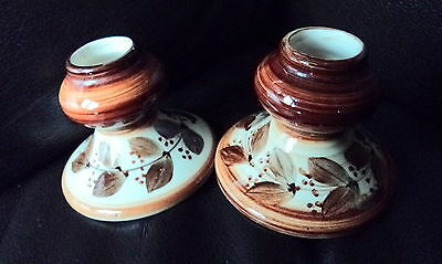 Sweet Pair Of Small Vintage Jersey Pottery Candlesticks With Free Postage