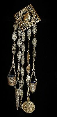 RARE Antique 5 ARM CHATELAINE Ornate SEWING Items THIMBLE BUCKET PIN CUSHION Etc